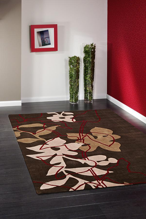 HV-611-BROWN Modern Brown Rug - The Flooring Guys