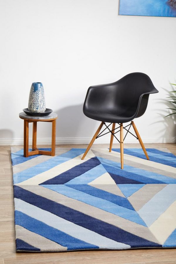 HV-636-BLUE Modern Blue Rug - The Flooring Guys