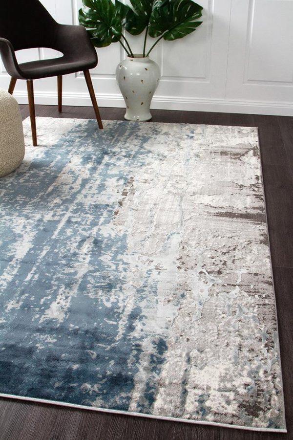 KEN-1733-BLU Modern Blue Rug - The Flooring Guys