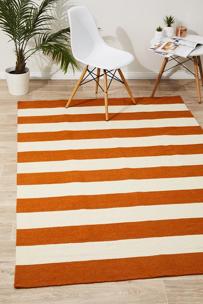 NOM-16-ORANGE Flat Weave Orange Rug - The Flooring Guys