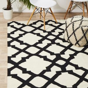 NOM-17N-BLACK Flat Weave Black Rug - The Flooring Guys