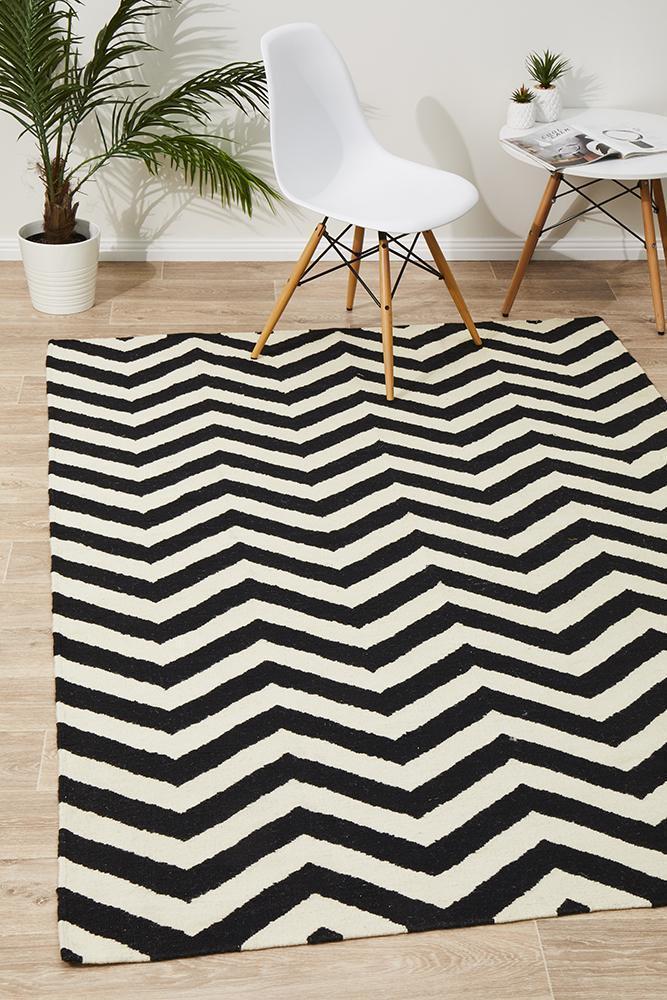 NOM-18-BLACK-WHITE Flat Weave Multi Rug - The Flooring Guys