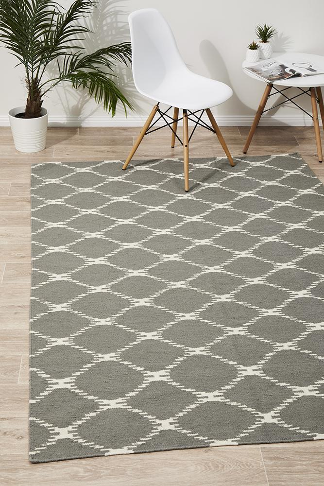 NOM-19-GREY Flat Weave Grey Rug - The Flooring Guys