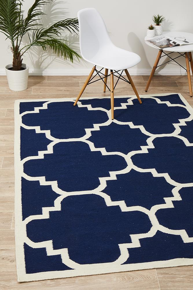 NOM-23-NAVY Flat Weave Navy Rug - The Flooring Guys