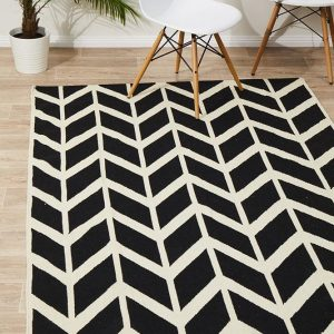 NOM-30-BLACK Flat Weave Black Rug - The Flooring Guys