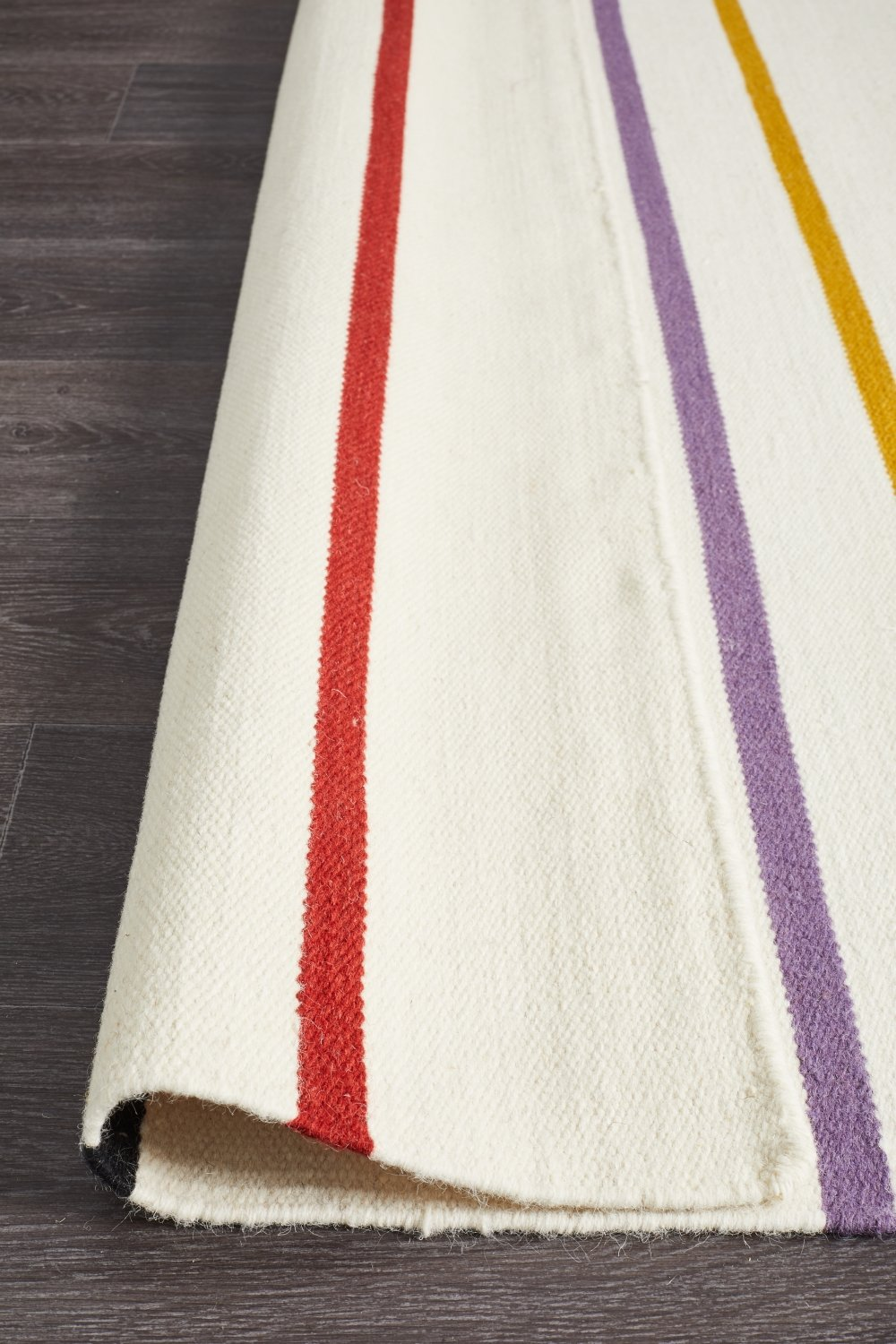 Oslo Stripe Flat Weave Wool Rug White