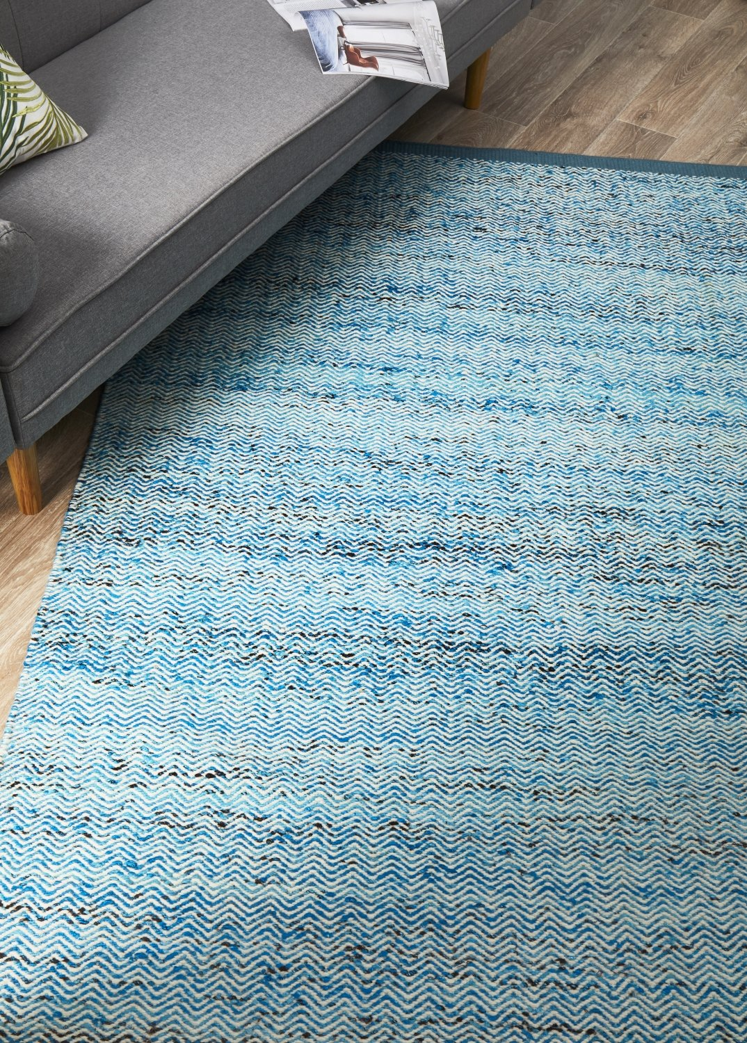 SKAN-307-BLU Flat Weave Multi Rug - The Flooring Guys
