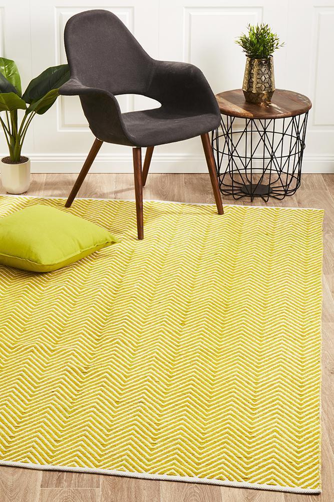 SPI-CHE-YELL Flat Weave Yellow Rug - The Flooring Guys
